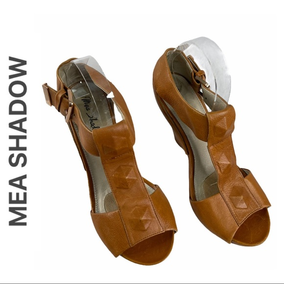 Mea Shadow Leather Open Toe Wedges